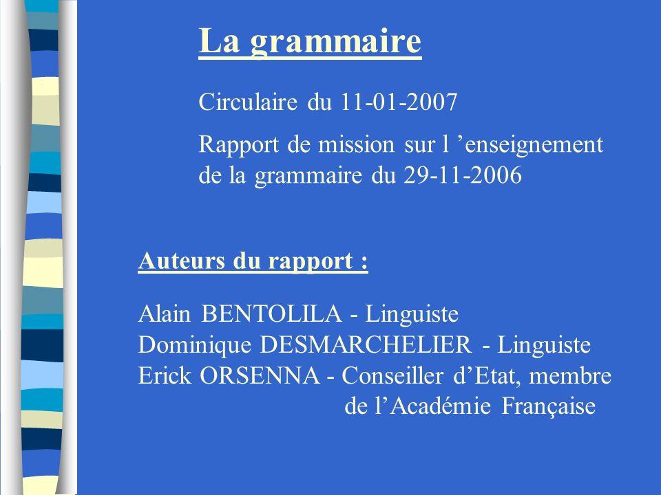 La grammaire Circulaire du 11-01-2007