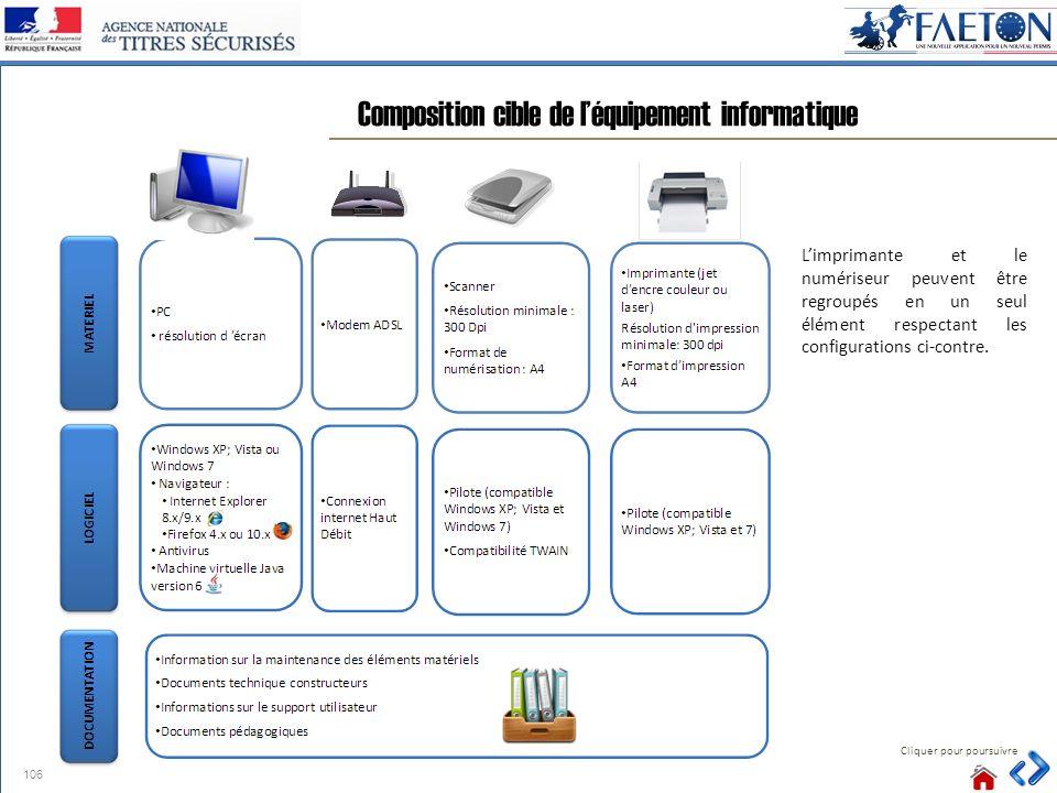 Composition cible de l'équipement informatique