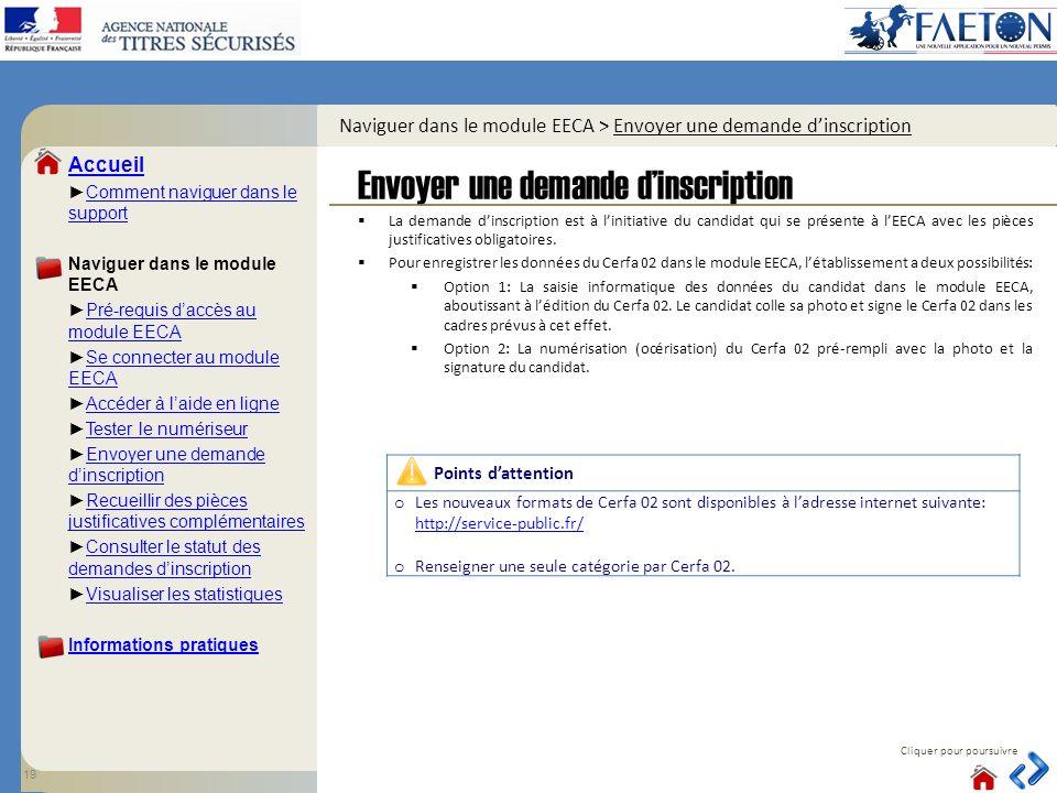 Naviguer dans le module EECA > Envoyer une demande d'inscription