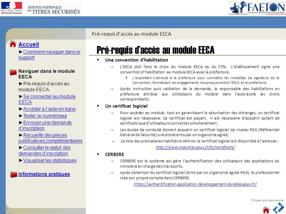 Pré-requis d'accès au module EECA