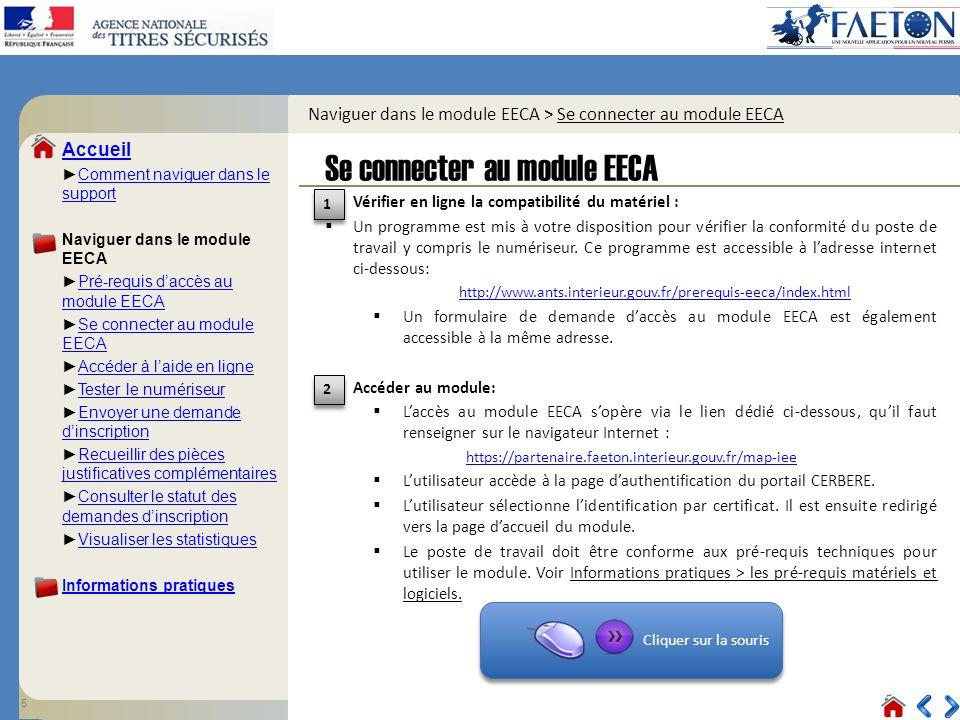 Naviguer dans le module EECA > Se connecter au module EECA