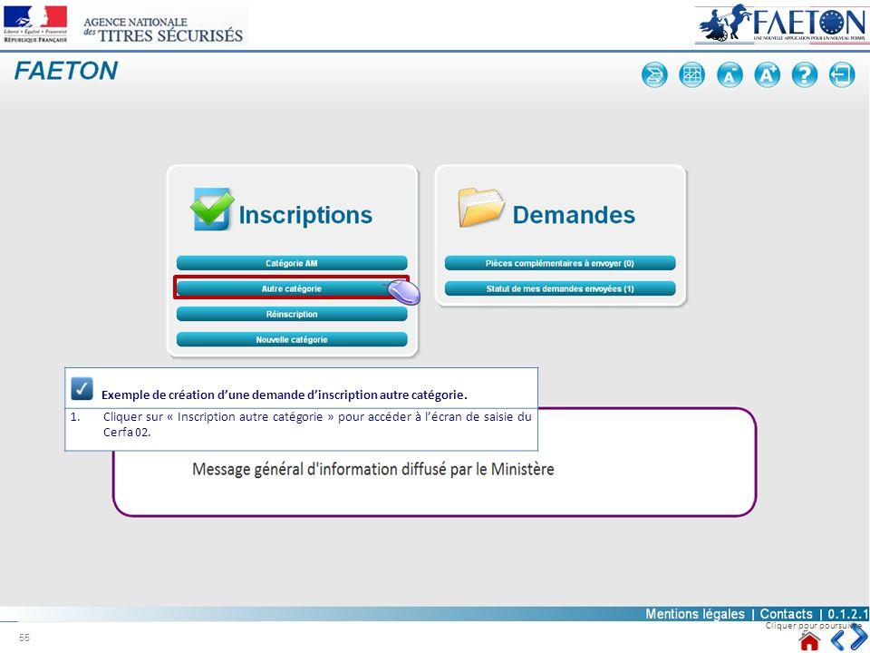 Exemple de création d'une demande d'inscription autre catégorie.