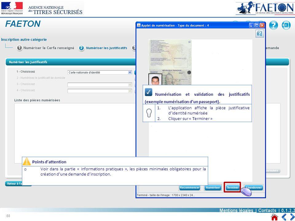 Numérisation et validation des justificatifs (exemple numérisation d'un passeport).
