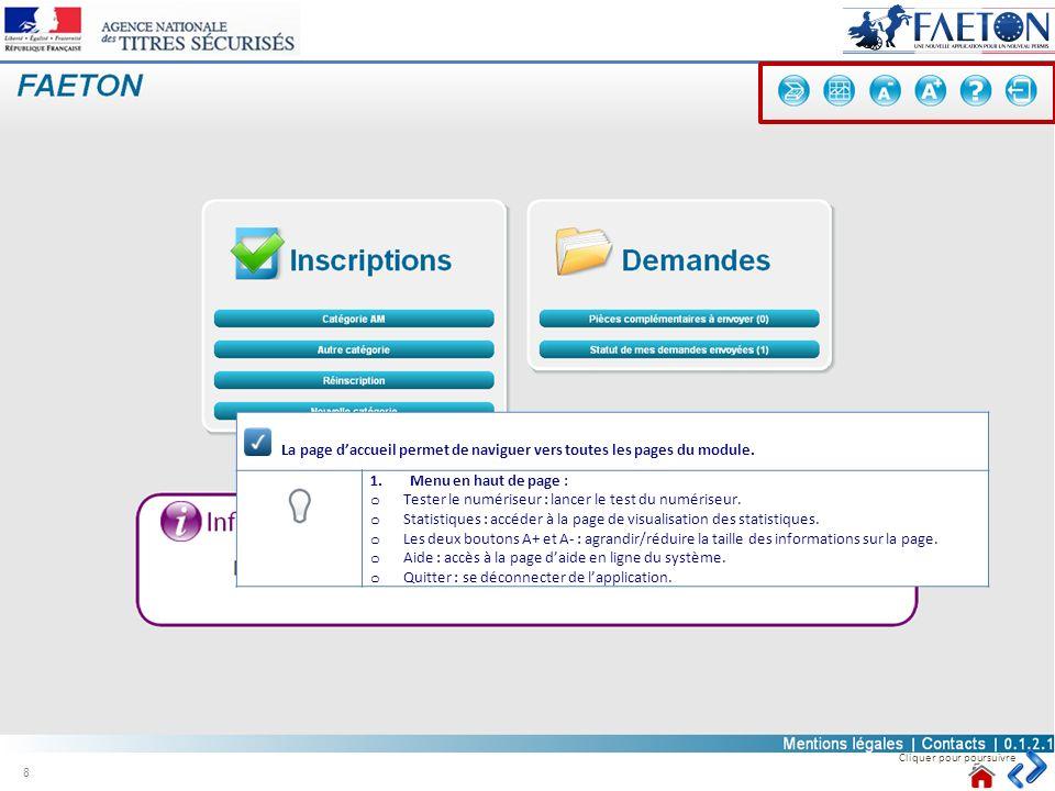 La page d'accueil permet de naviguer vers toutes les pages du module.