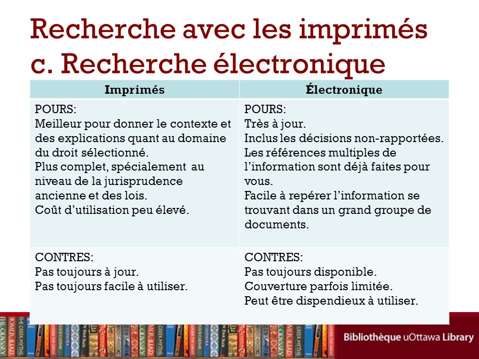 Recherche avec les imprimés c. Recherche électronique
