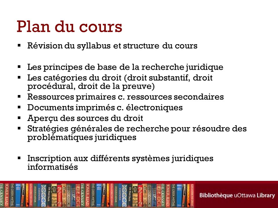 Plan du cours Révision du syllabus et structure du cours