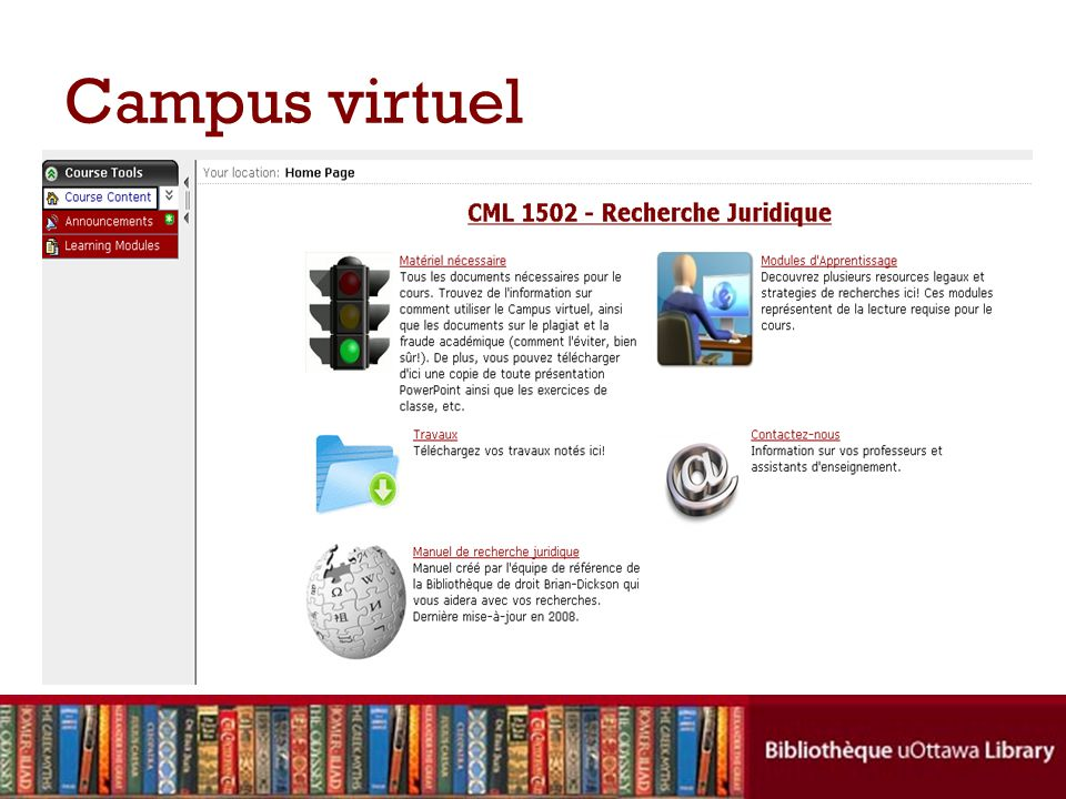 Campus virtuel Getting Started has basic technical information about using Virtual Campus, etc. I will also see if I can add the syllabus here.