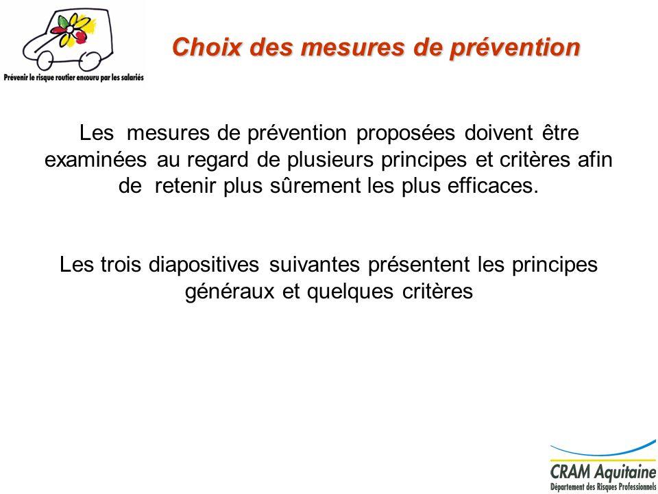 Choix des mesures de prévention