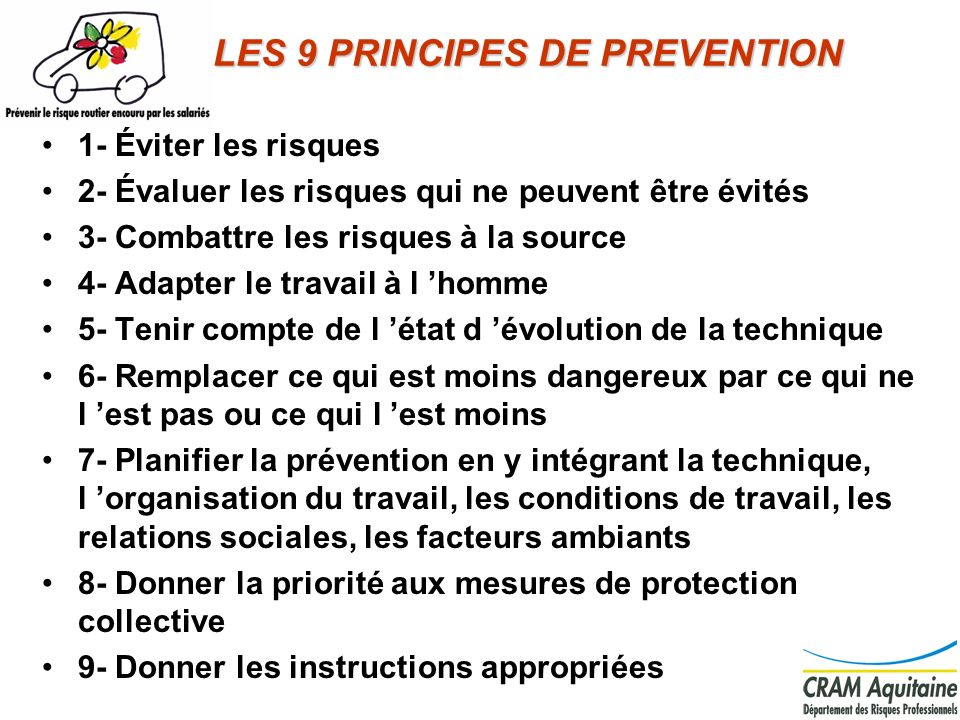 LES 9 PRINCIPES DE PREVENTION