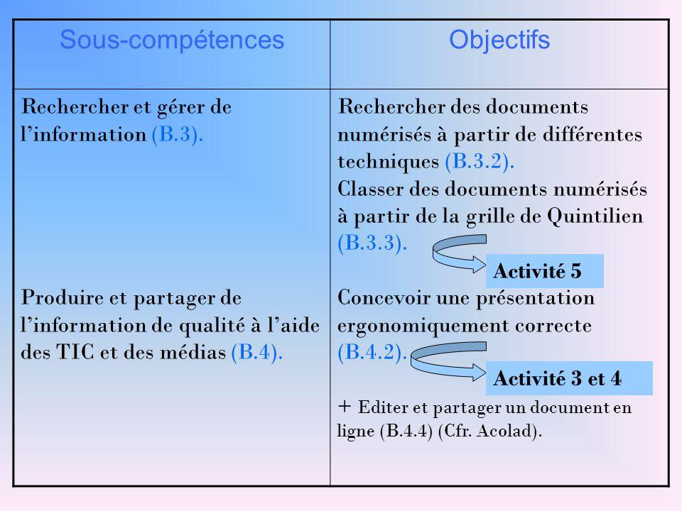 Sous-compétences Objectifs Rechercher et gérer de l'information (B.3).