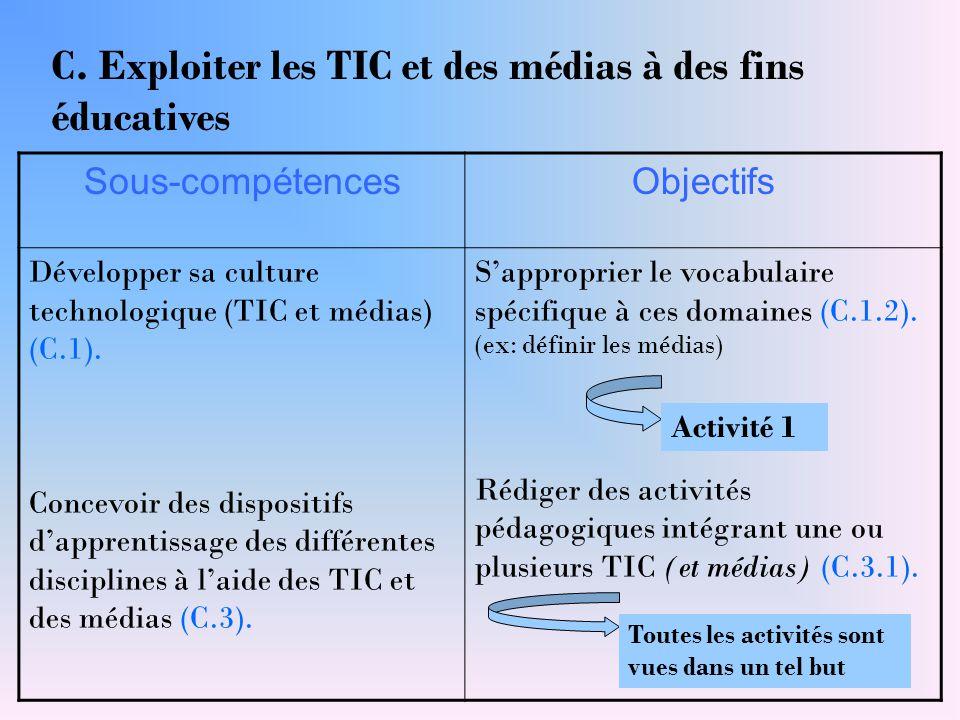 C. Exploiter les TIC et des médias à des fins éducatives