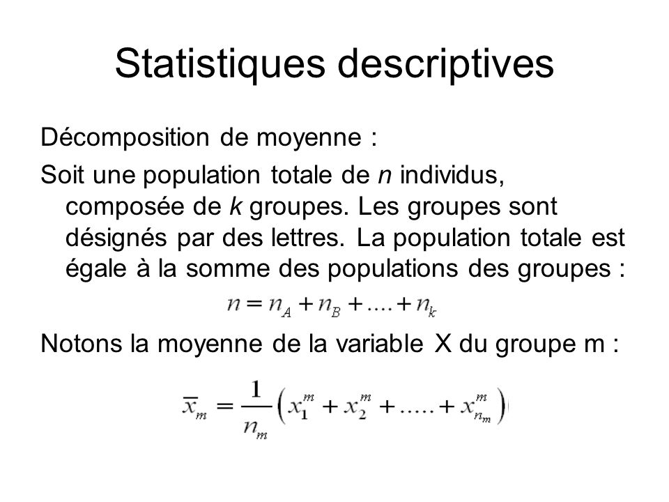 Statistiques descriptives