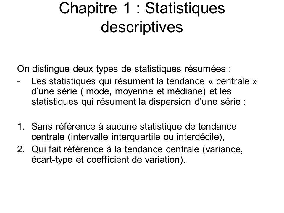 Chapitre 1 : Statistiques descriptives