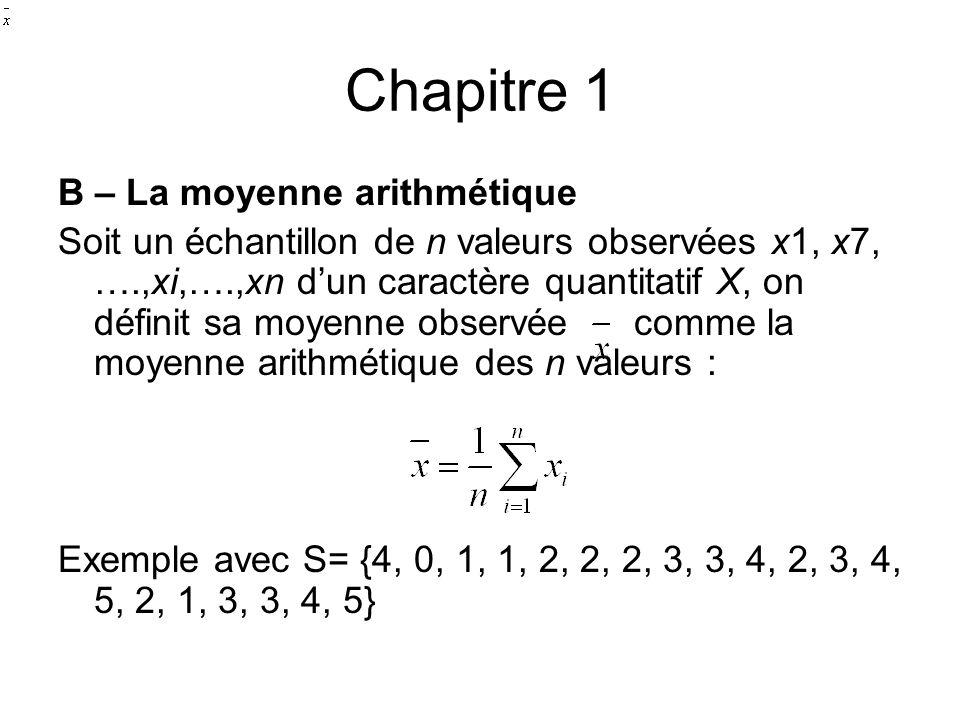 Chapitre 1 B – La moyenne arithmétique