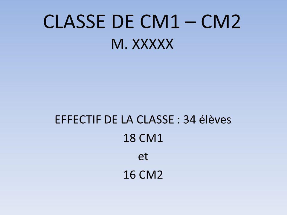 EFFECTIF DE LA CLASSE : 34 élèves 18 CM1 et 16 CM2