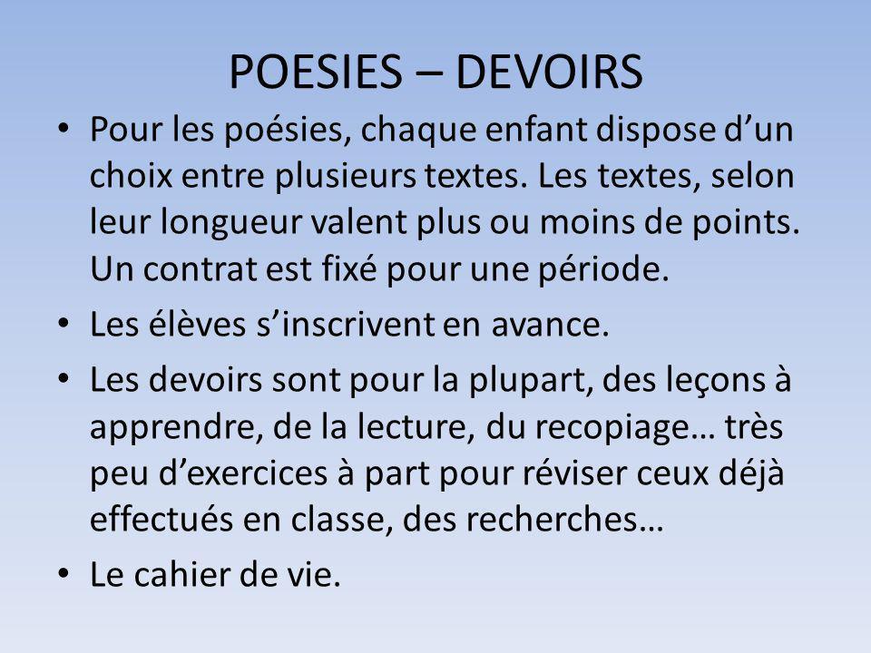 POESIES – DEVOIRS