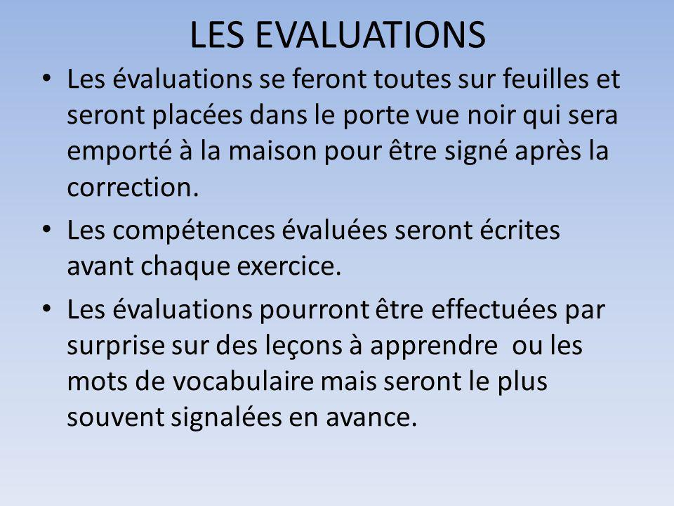 LES EVALUATIONS