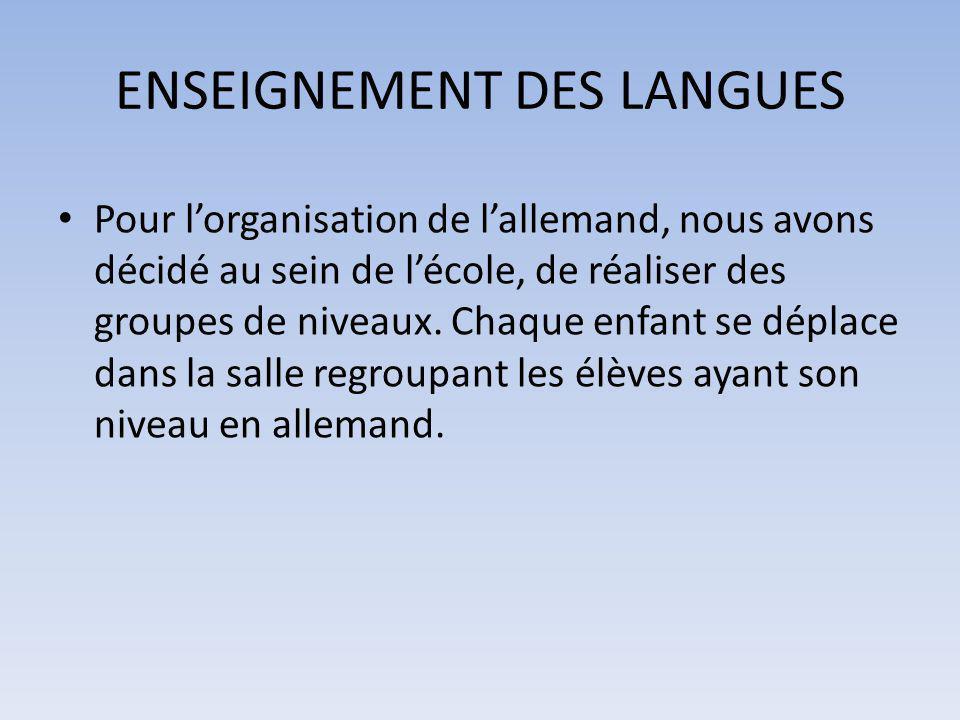 ENSEIGNEMENT DES LANGUES