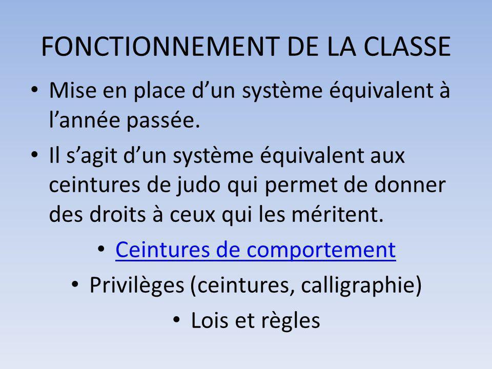 FONCTIONNEMENT DE LA CLASSE