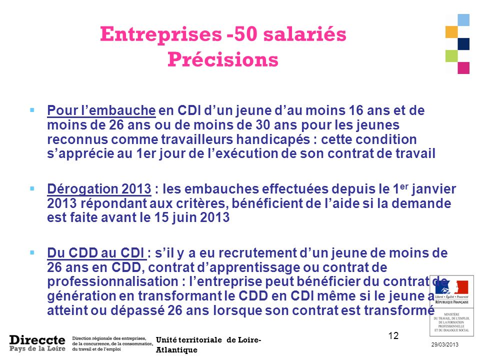Entreprises -50 salariés Précisions