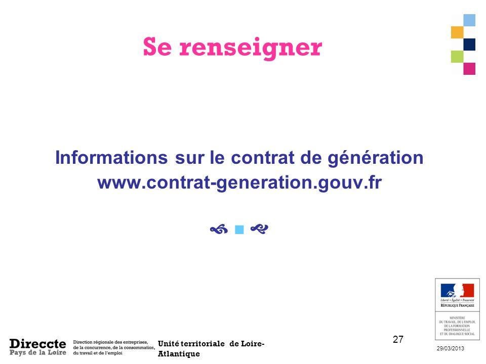 Informations sur le contrat de génération