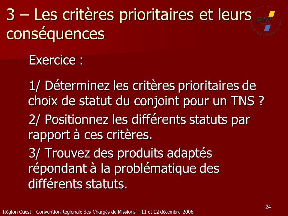 3 – Les critères prioritaires et leurs conséquences