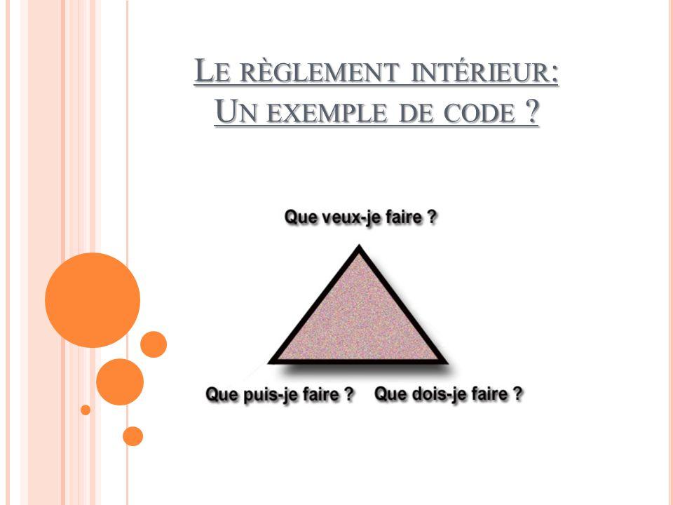 Le règlement intérieur: Un exemple de code