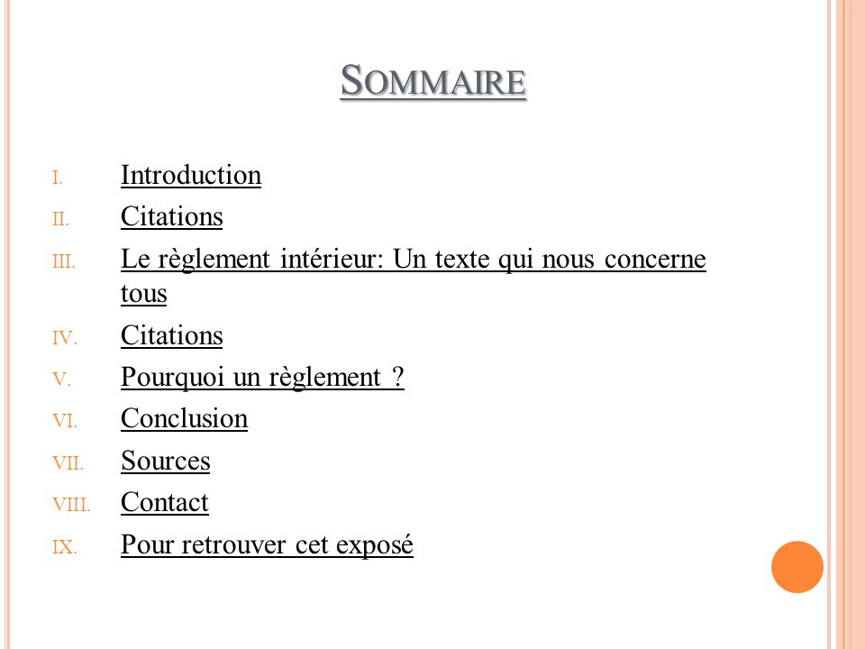 Sommaire Introduction Citations