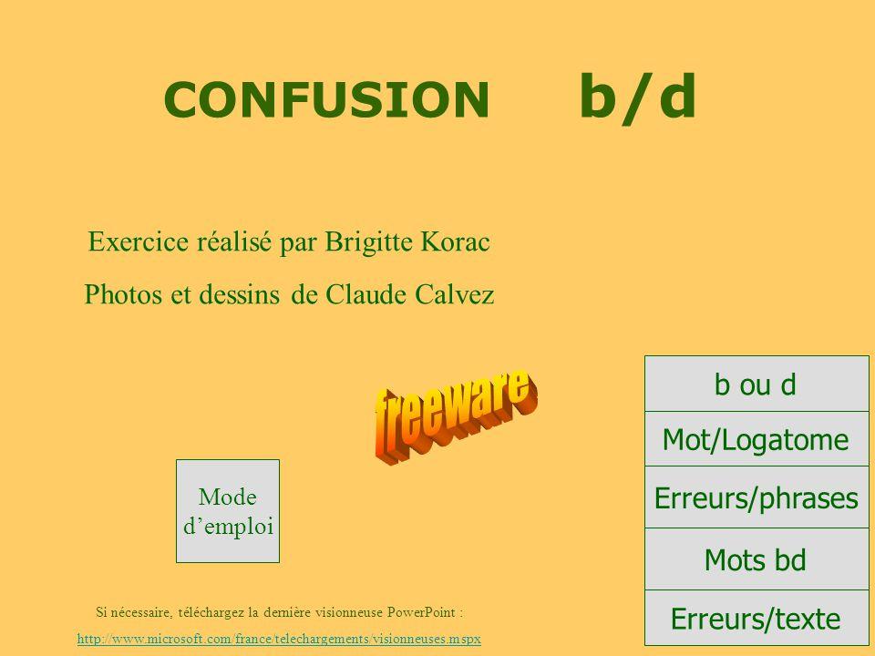 CONFUSION b/d freeware Exercice réalisé par Brigitte Korac