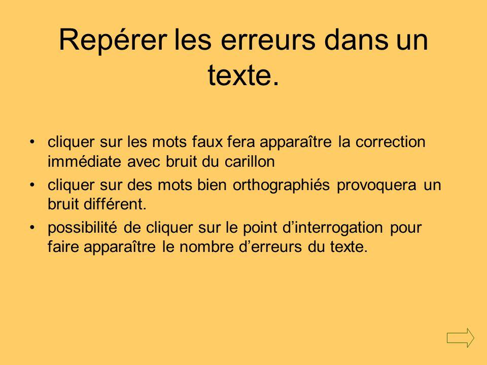 Repérer les erreurs dans un texte.