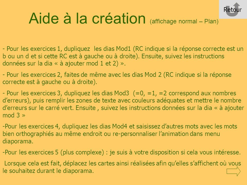 Aide à la création (affichage normal – Plan)