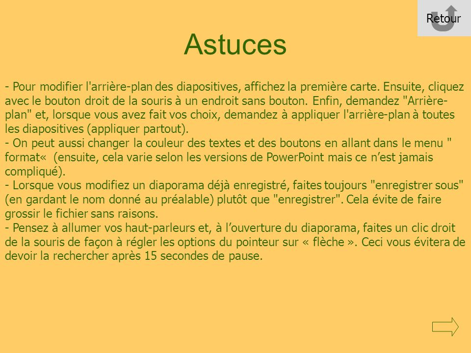 Retour Astuces.