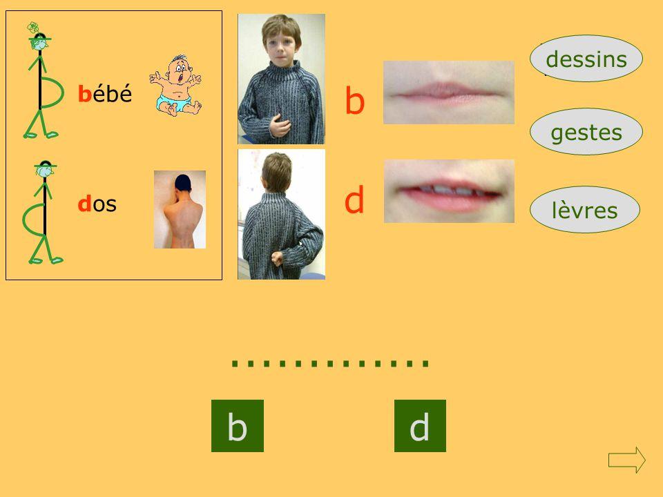 ............. b d b d dessins bébé gestes dos lèvres mod1RC=b gauche