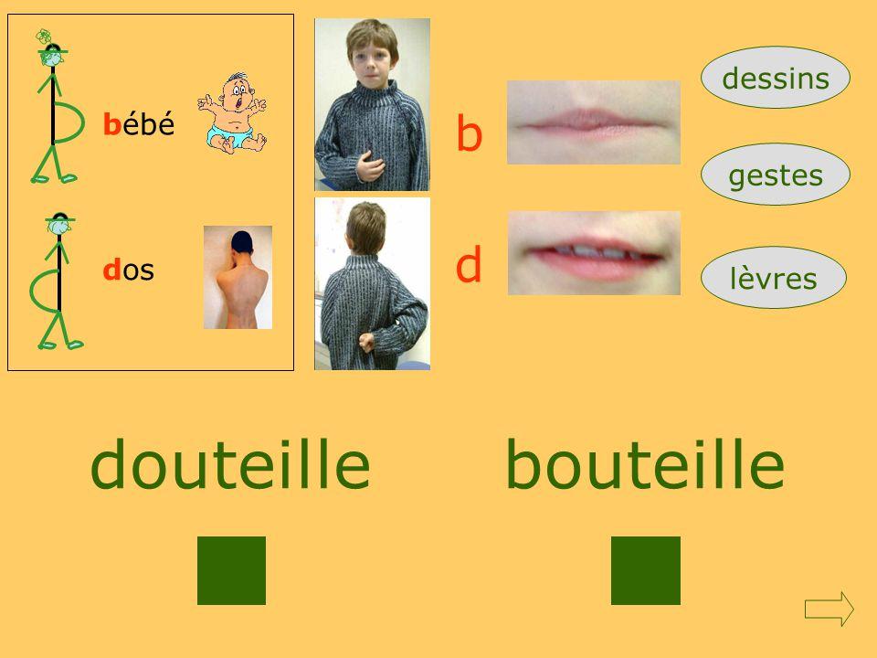 dessins bébé b gestes d dos lèvres douteille bouteille