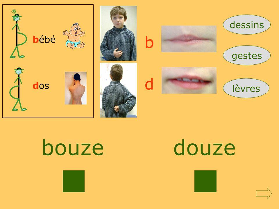 dessins bébé b gestes d dos lèvres bouze douze