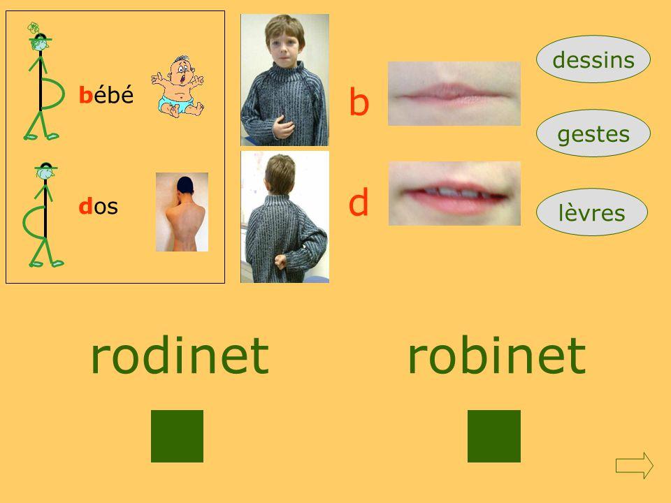 dessins bébé b gestes d dos lèvres rodinet robinet