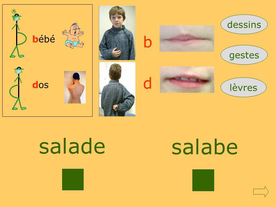 dessins bébé b gestes d dos lèvres salade salabe