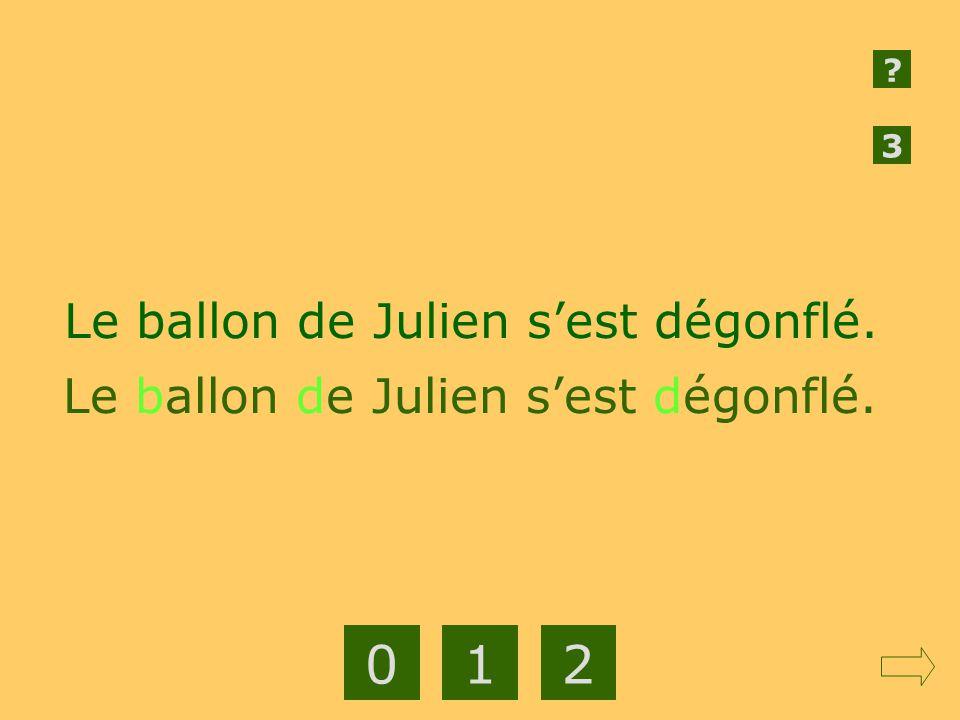 1 2 Le ballon de Julien s'est dégonflé.