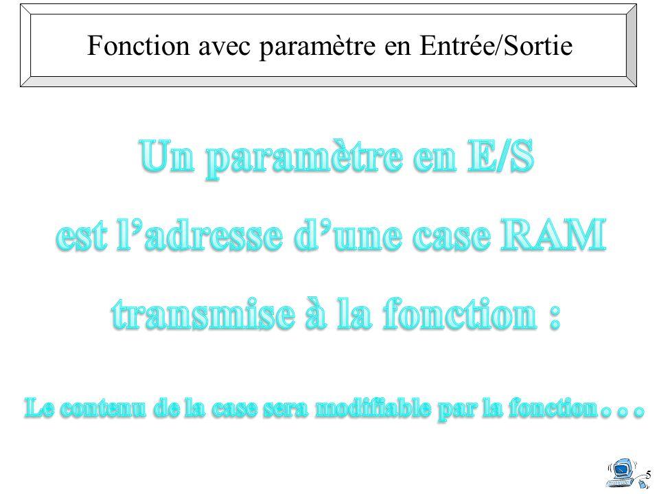 est l'adresse d'une case RAM transmise à la fonction :