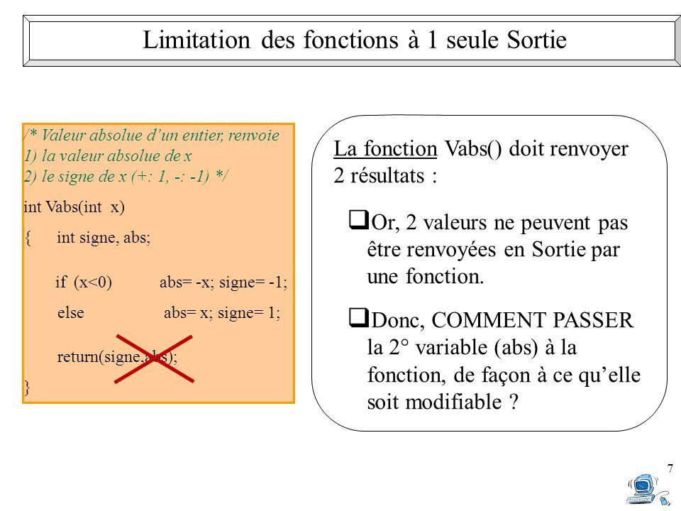 Limitation des fonctions à 1 seule Sortie