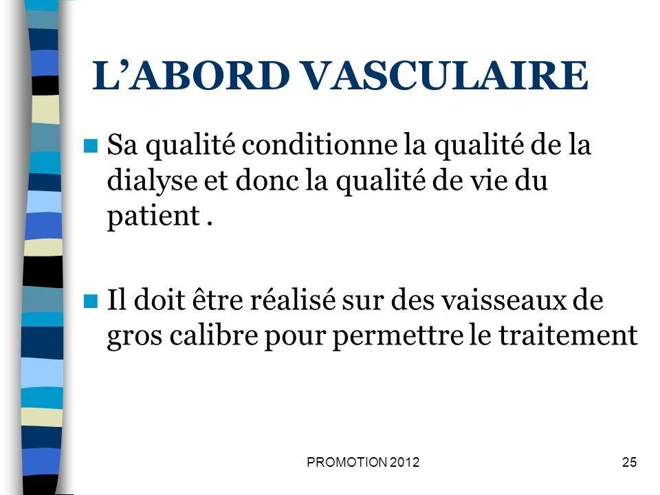 L'ABORD VASCULAIRE Sa qualité conditionne la qualité de la dialyse et donc la qualité de vie du patient .