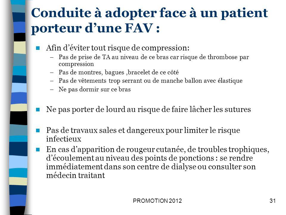 Conduite à adopter face à un patient porteur d'une FAV :