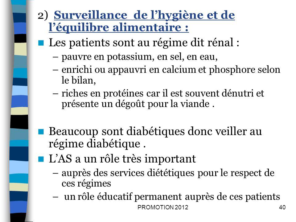 2) Surveillance de l'hygiène et de l'équilibre alimentaire :
