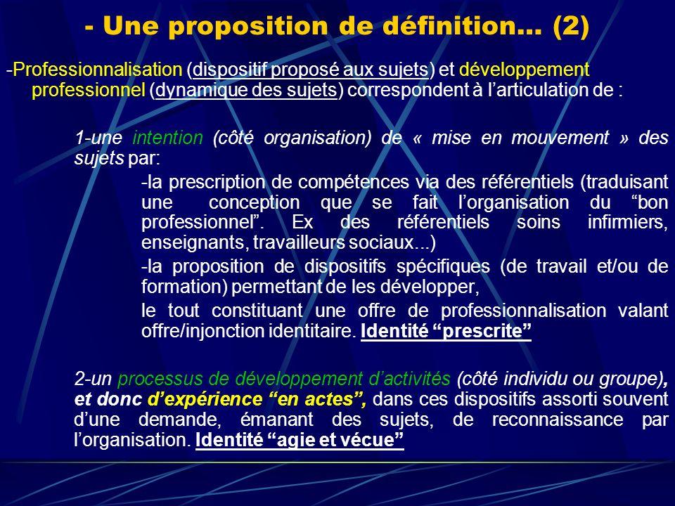 - Une proposition de définition… (2)