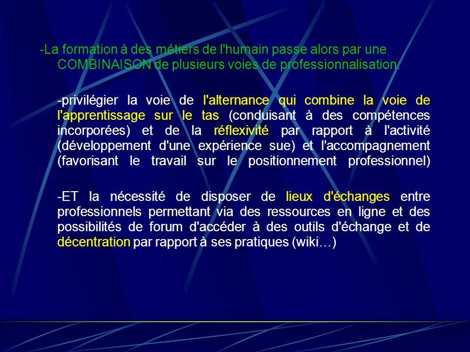 -La formation à des métiers de l humain passe alors par une COMBINAISON de plusieurs voies de professionnalisation: -privilégier la voie de l alternance qui combine la voie de l apprentissage sur le tas (conduisant à des compétences incorporées) et de la réflexivité par rapport à l activité (développement d une expérience sue) et l accompagnement (favorisant le travail sur le positionnement professionnel) -ET la nécessité de disposer de lieux d échanges entre professionnels permettant via des ressources en ligne et des possibilités de forum d accéder à des outils d échange et de décentration par rapport à ses pratiques (wiki…)