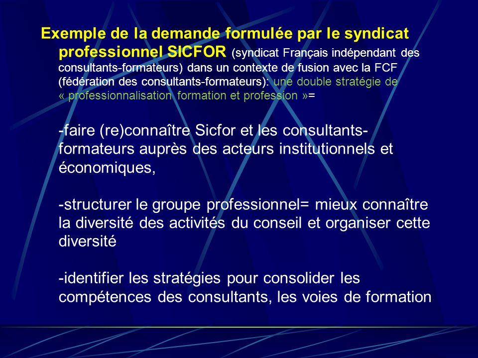 Exemple de la demande formulée par le syndicat professionnel SICFOR (syndicat Français indépendant des consultants-formateurs) dans un contexte de fusion avec la FCF (fédération des consultants-formateurs): une double stratégie de « professionnalisation formation et profession »=