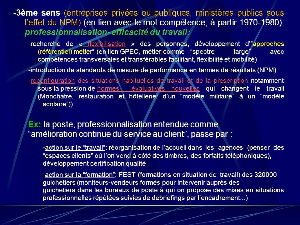 -3ème sens (entreprises privées ou publiques, ministères publics sous l'effet du NPM) (en lien avec le mot compétence, à partir 1970-1980): professionnalisation- efficacité du travail: