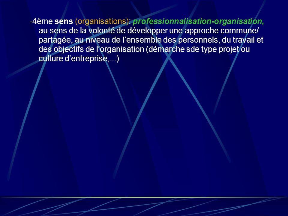 -4ème sens (organisations): professionnalisation-organisation, au sens de la volonté de développer une approche commune/ partagée, au niveau de l'ensemble des personnels, du travail et des objectifs de l'organisation (démarche sde type projet ou culture d'entreprise,...)