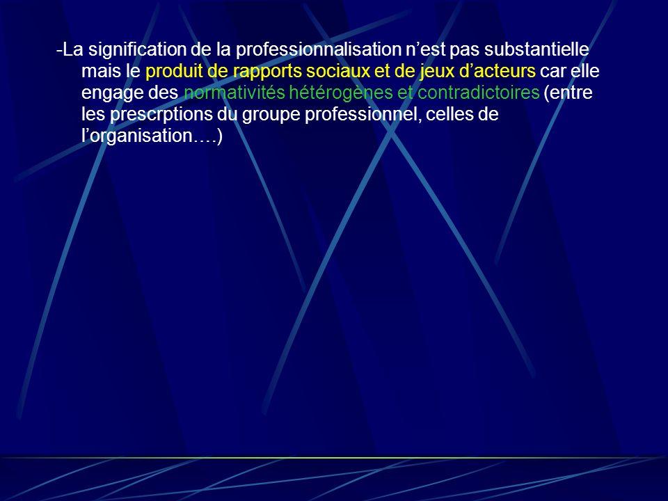 -La signification de la professionnalisation n'est pas substantielle mais le produit de rapports sociaux et de jeux d'acteurs car elle engage des normativités hétérogènes et contradictoires (entre les prescrptions du groupe professionnel, celles de l'organisation….)