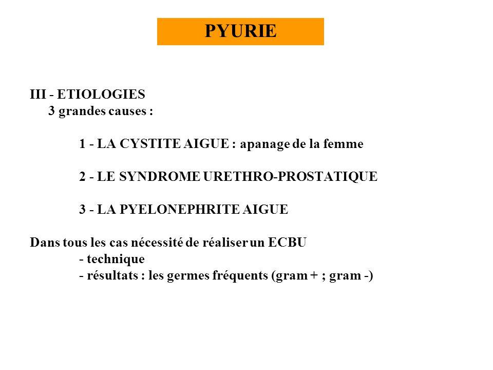 PYURIE III - ETIOLOGIES 3 grandes causes :